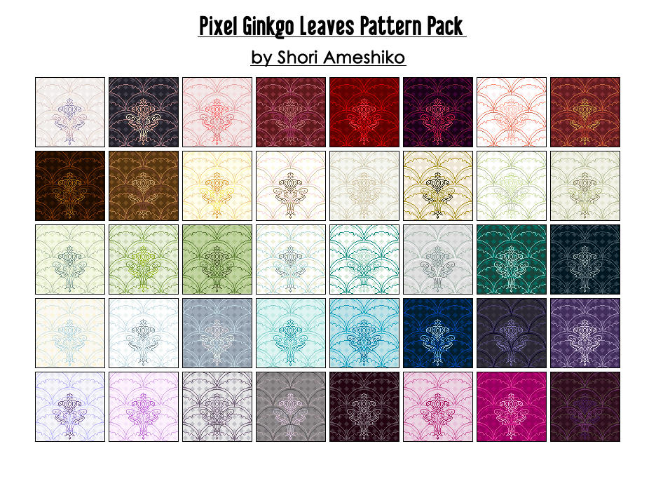 Pixel Ginkgo Leaves Pattern Pack by SewDesuNe