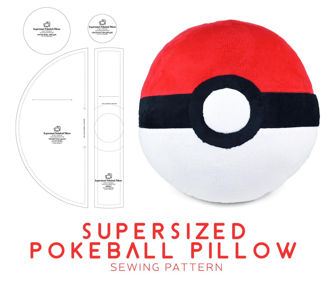 Supersized Pokeball Pillow Sewing Pattern by SewDesuNe
