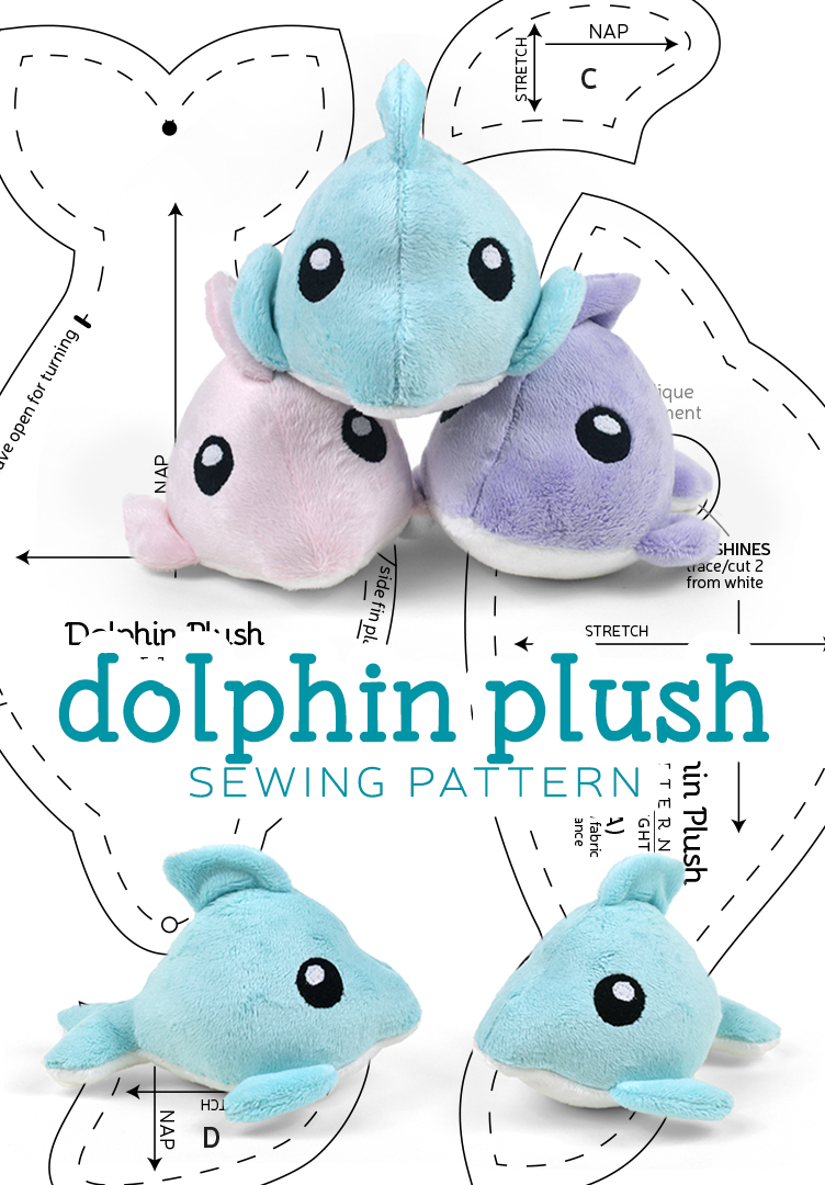 Dolphin plush sewing pattern by sewdesune on deviantart for Sewing templates for stuffed animals
