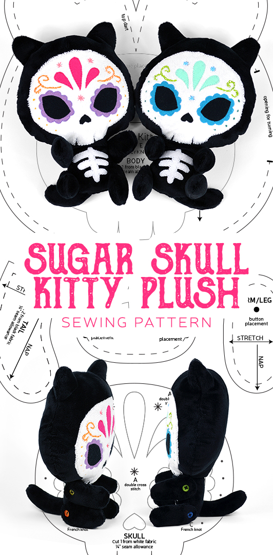 Sugar Skull Kitty Plush Pattern by SewDesuNe