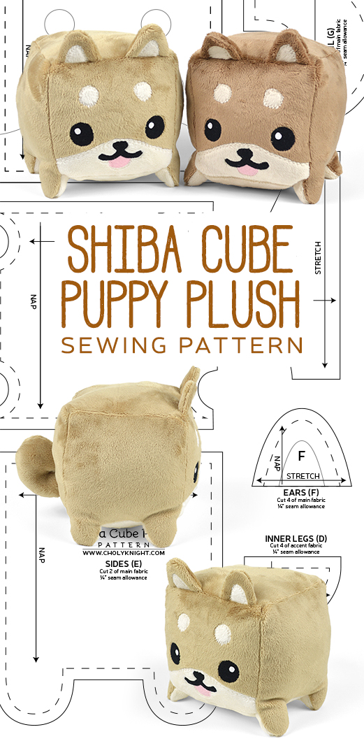 Shiba Cube Plush Sewing Pattern by SewDesuNe
