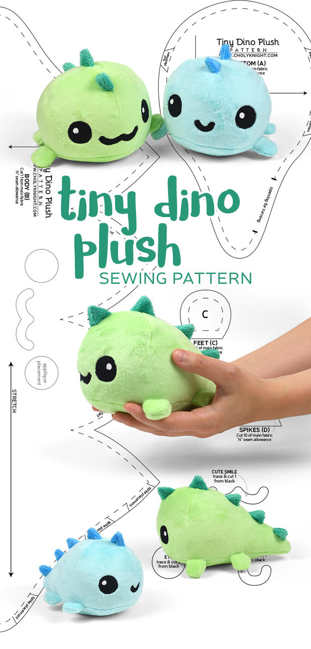 Tiny Dino Plush Sewing Pattern by SewDesuNe on DeviantArt
