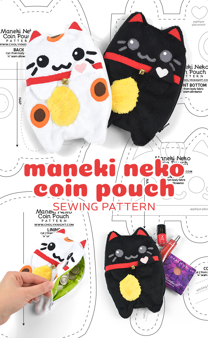 Maneki Neko Coin Pouch Sewing Pattern by SewDesuNe