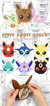 Eevee Evolution Zipper Pouch Sewing Pattern