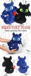 Night Fury Toothless Plush Sewing Pattern by SewDesuNe