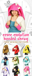 Eevee Evolution Hooded Shrug Sewing Pattern by SewDesuNe