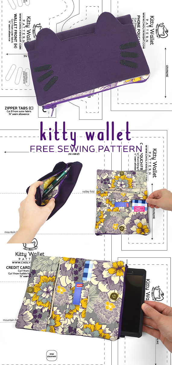 Kitty Wallet Sewing Pattern by SewDesuNe on DeviantArt