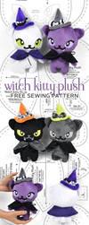 Witch Kitty Plush Sewing Pattern by SewDesuNe