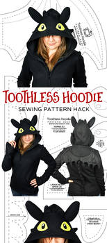 Night Fury Hoodie Hack Sewing Pattern by SewDesuNe