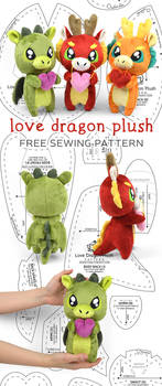 Love Dragon Plush Sewing Pattern by SewDesuNe