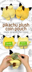 Pikachu Plush Pouch Sewing Pattern by SewDesuNe