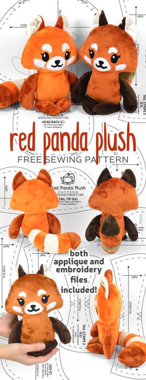 Red Panda Plush Sewing Pattern