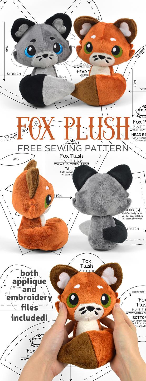 Fox Plush Sewing Pattern by SewDesuNe