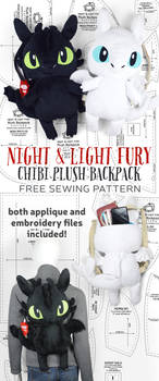 Night and Light Fury Plush Backpack Sewing Pattern