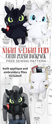 Night and Light Fury Plush Backpack Sewing Pattern by SewDesuNe
