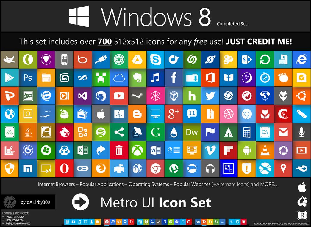 Metro UI Icon Set - 725 Icons