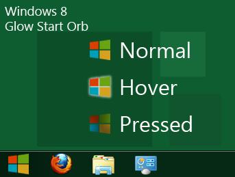 Windows 8 Glow Start Orb LARGE/SMALL TOP/BOTTOM