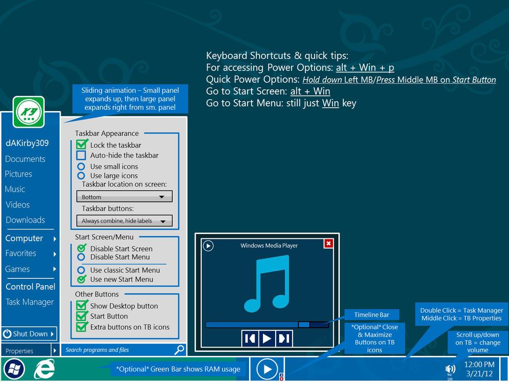 My Windows Taskbar Concept 1.0 by dAKirby309
