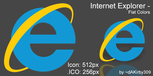 Internet Explorer DOCK ICON - Flat Colors by dAKirby309