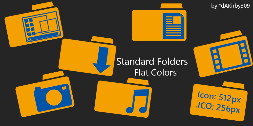 Standard OS Folders DOCK ICONS - Flat Colors by dAKirby309