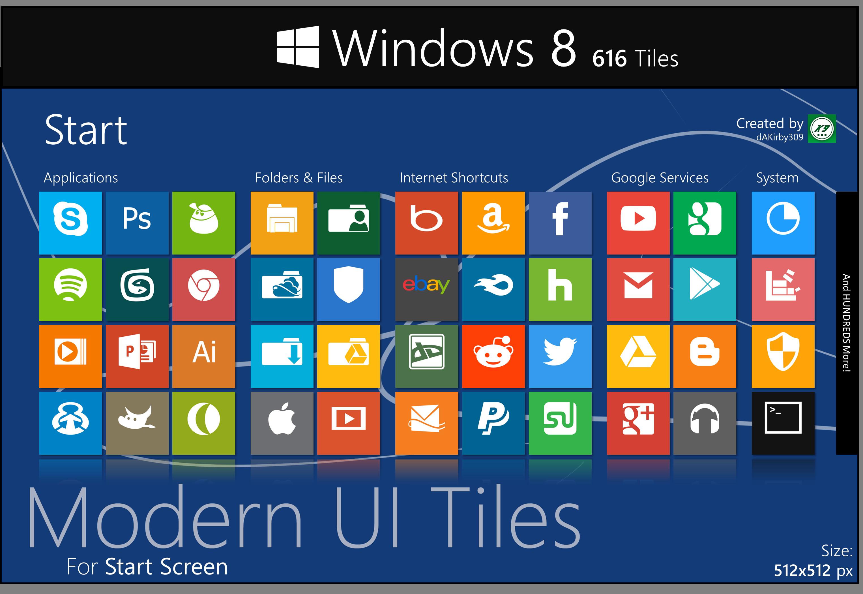 Modern UI Tiles Icon Set - 616 Tiles by dAKirby309 on DeviantArt