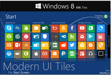 Modern UI Tiles Icon Set - 616 Tiles by dAKirby309