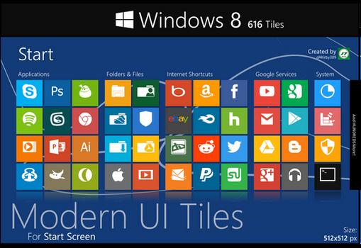 Modern UI Tiles Icon Set - 616 Tiles
