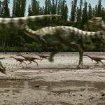 Qantassaurus And Timimus Flee