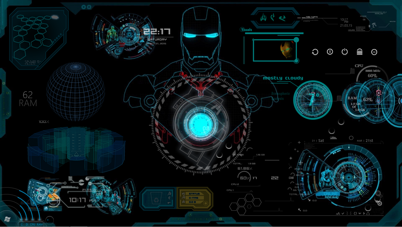Iron man jarvis rainmeter skin by abhishekmaurya21 on for Deviantart rainmeter