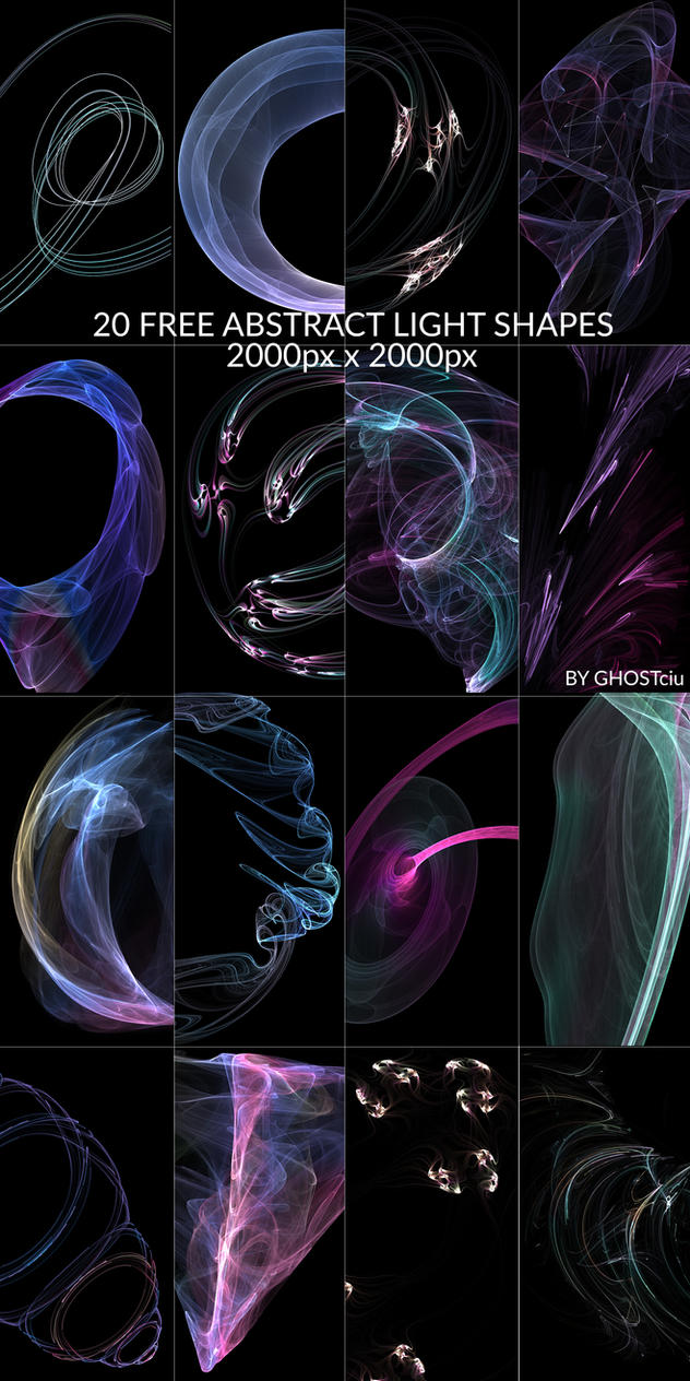 20 Free Abstract Light Shapes Pack by GHOSTciu