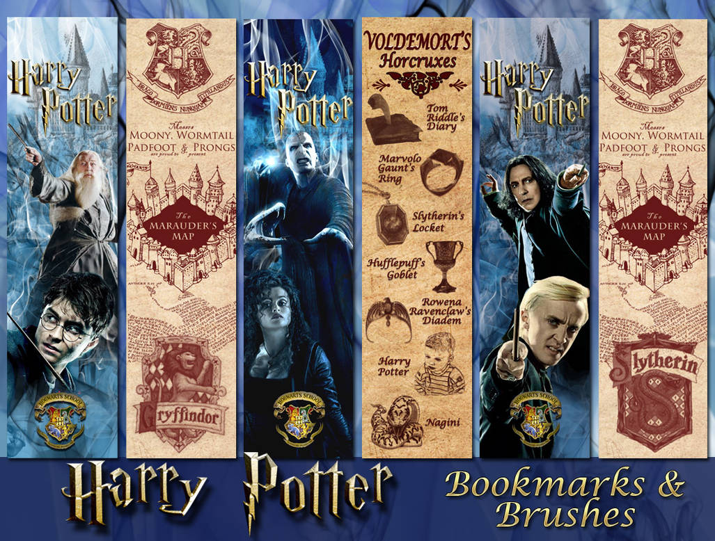 Harry Potter Bookmarks And Brushes By Aurorabor On Deviantart
