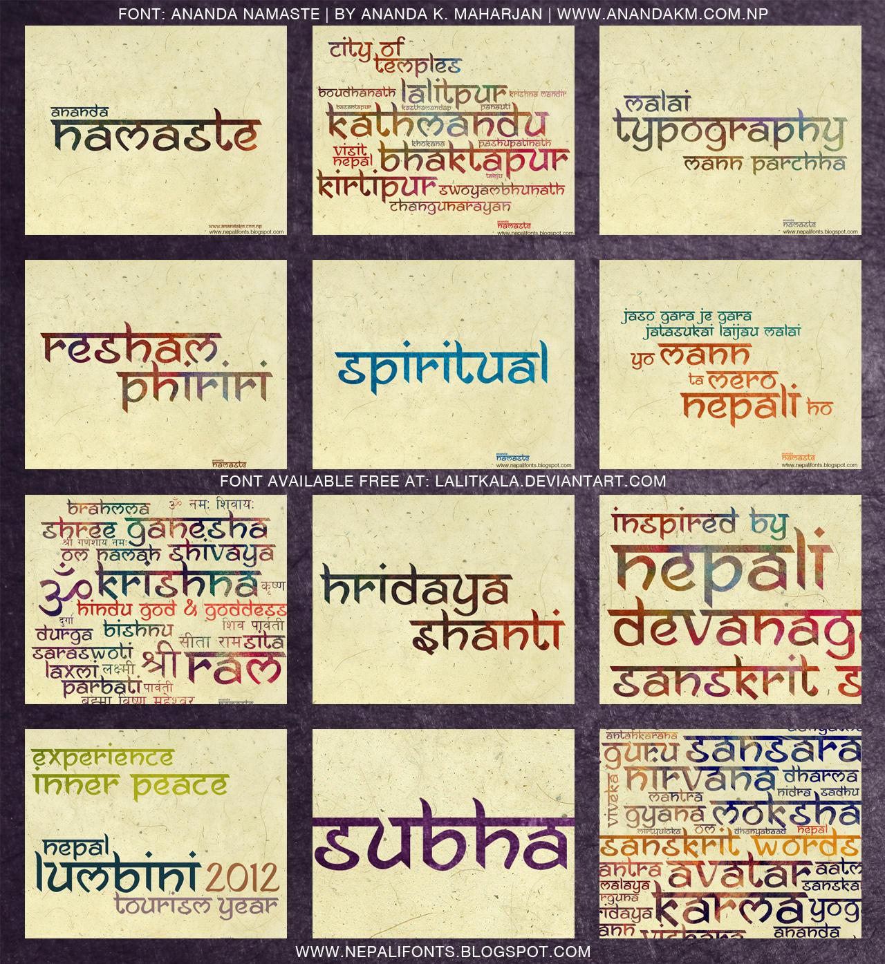 Ananda Namaste Free Font by lalitkala