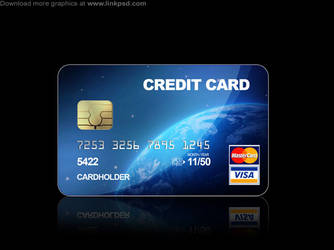 Blue Credit cards PSD file by mizie2009
