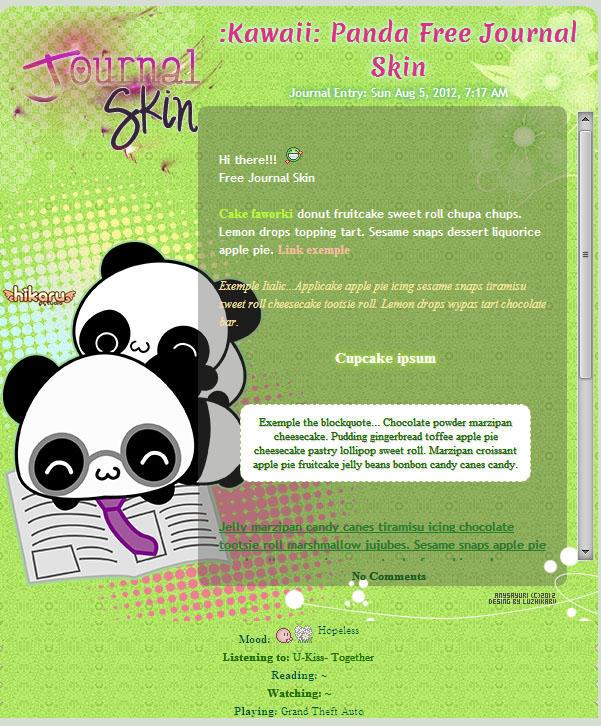 :Kawaii: Panda Free Journal Skin by Anysayuri