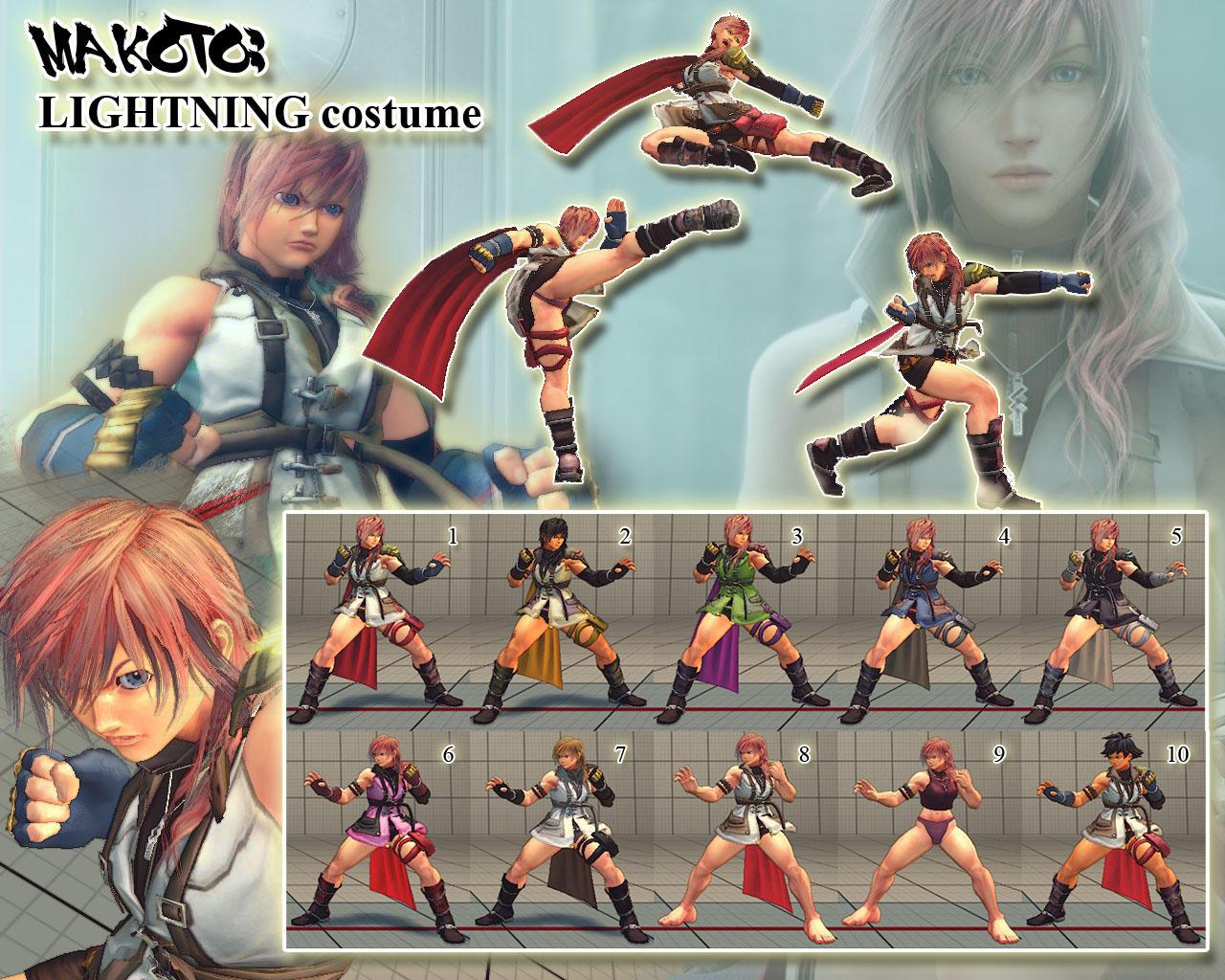 SSF4AE Makoto: Lightning (FFXIII) costume v1.5 by sloth85