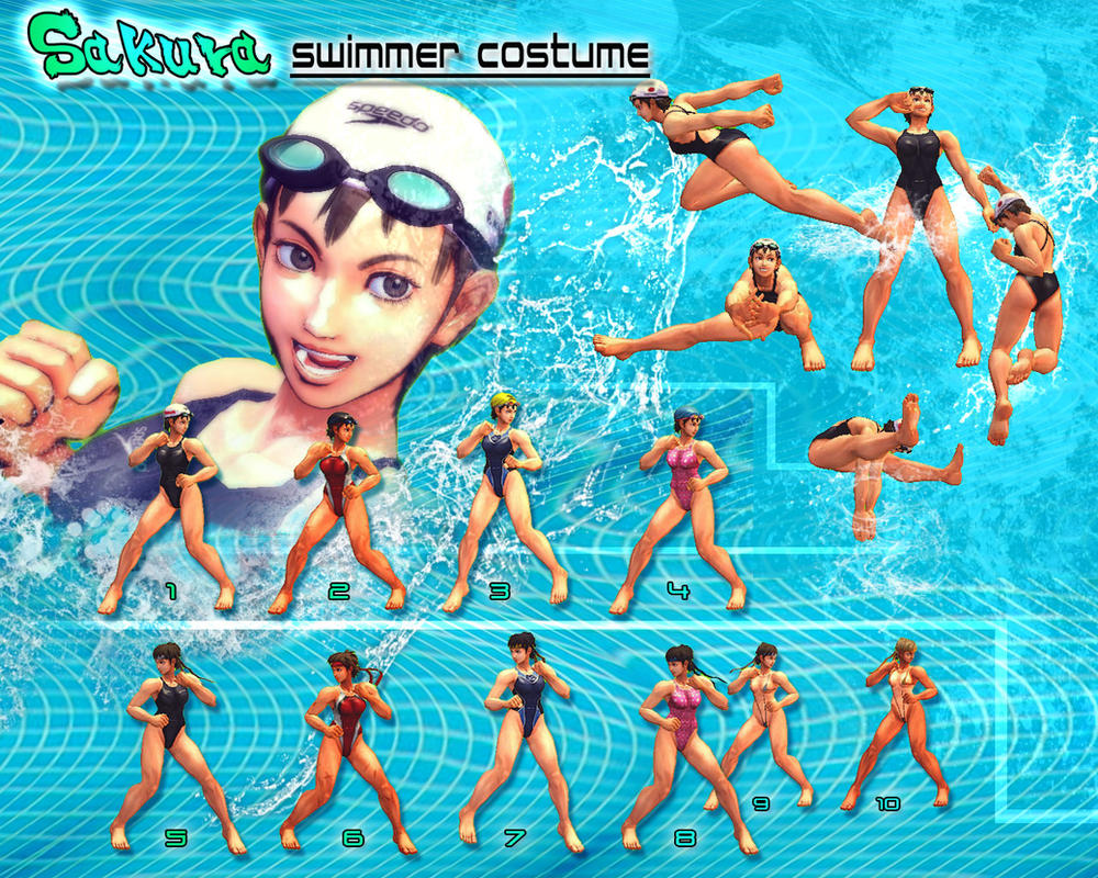 SSF4AE: Sakura - Swimmer costume by sloth85