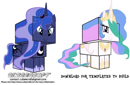 Cubeecraft Princess Luna And Princess Celestia