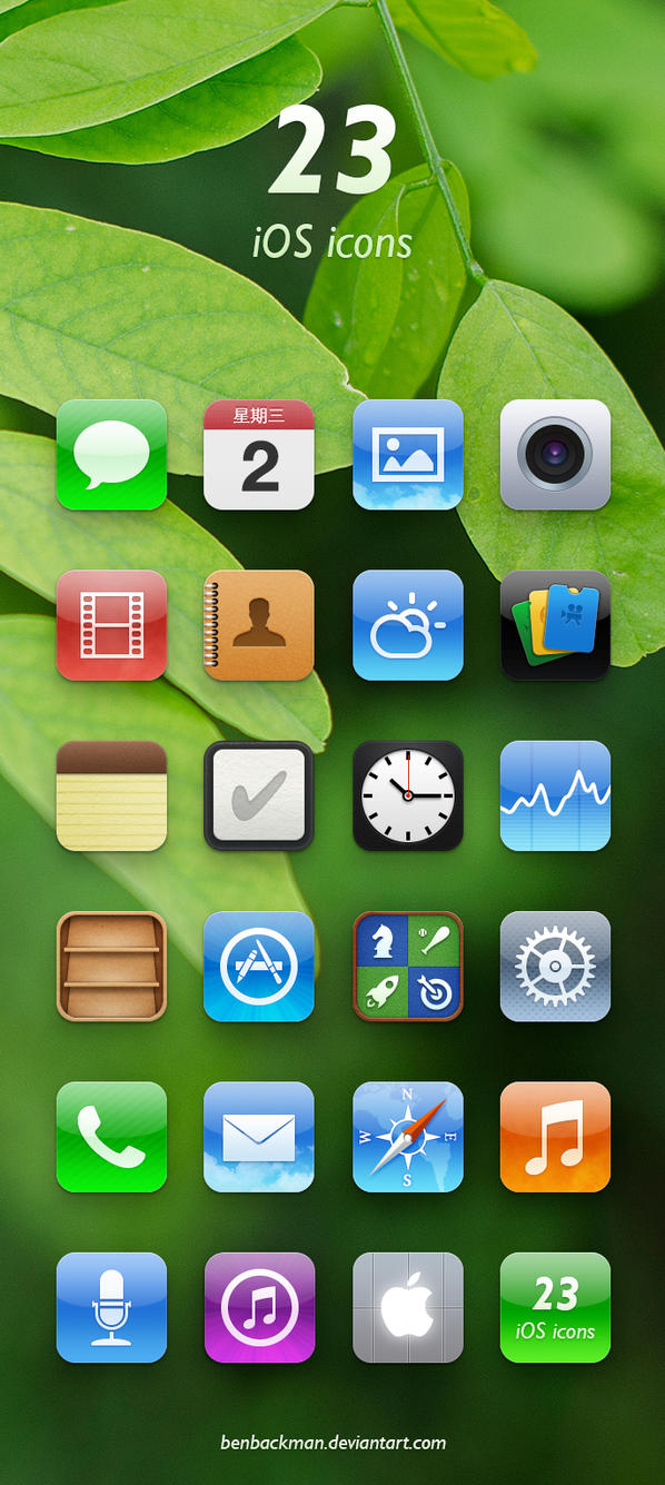 23 iOS icons by benbackman