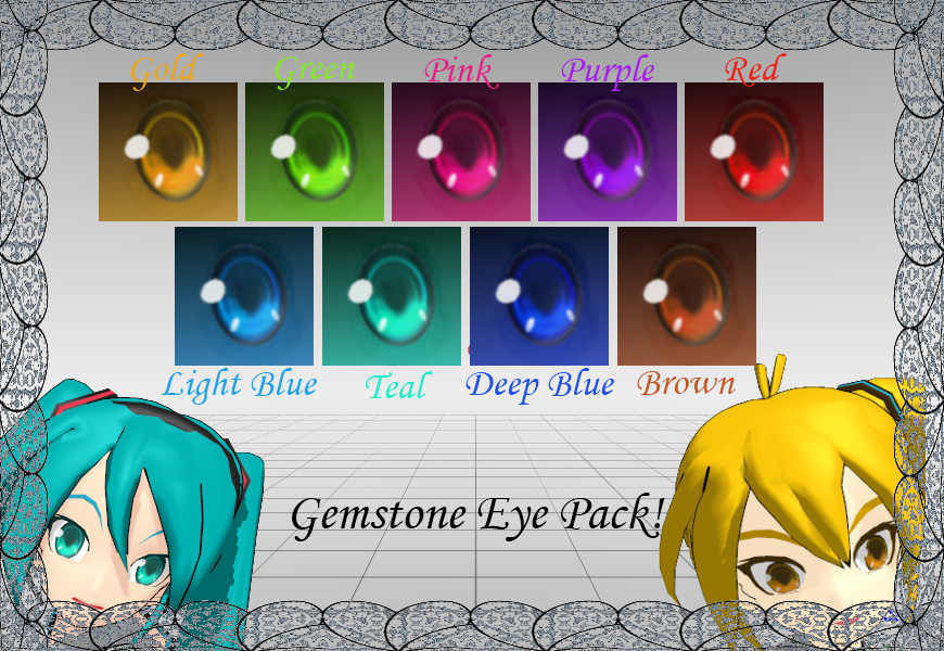 [MMD] Gemstone Eye Textures by animejunkey54