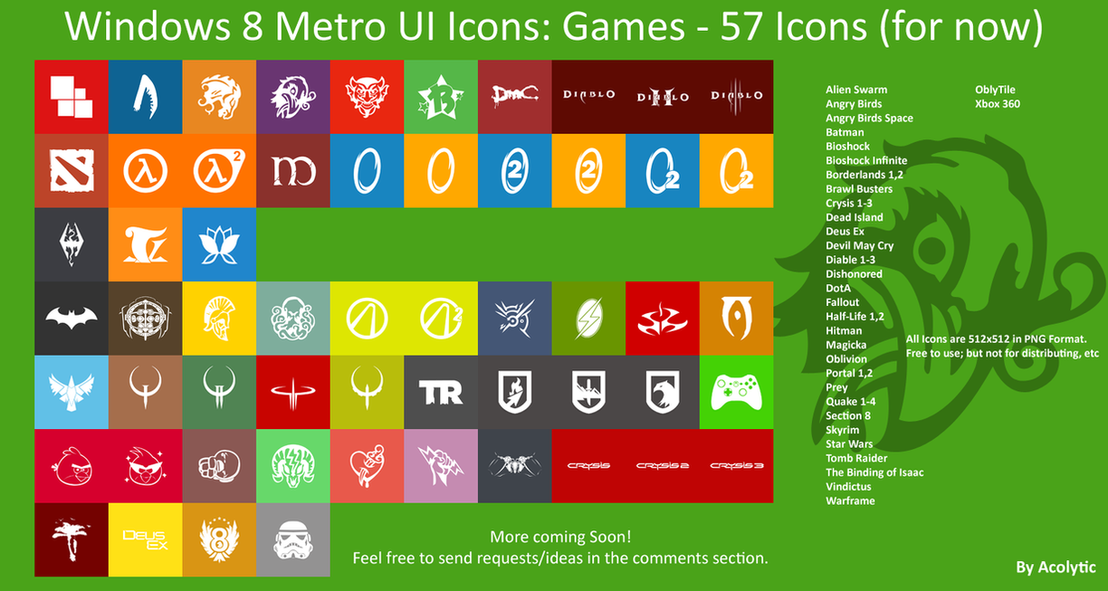 Updated 06/18/13 -  Windows 8 Metro Game Icons by The-Acolytic