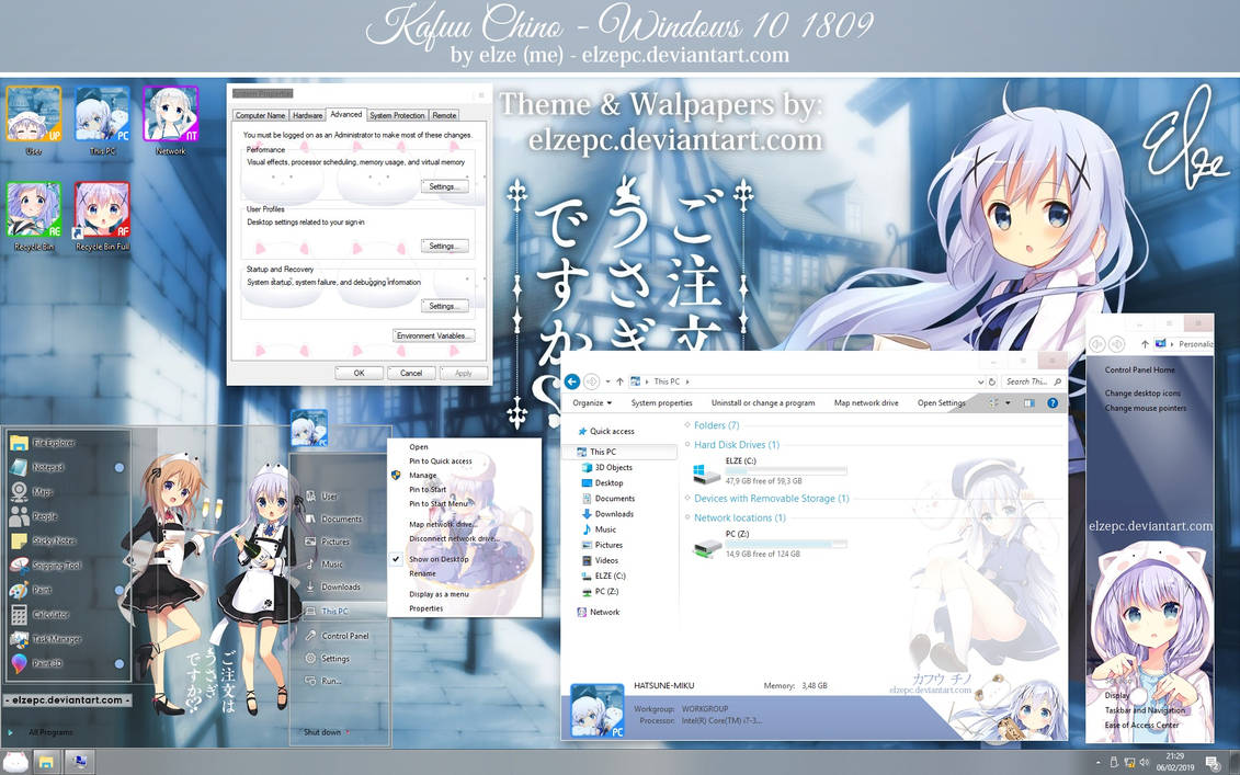 Kafuu Chino Theme - Windows 10 1809 by Elze (me) by ElzePC on DeviantArt