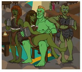 Grimtooth Skullfury and three random Orc Ladies