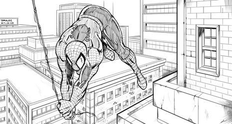 Spiderman Over the City by RAM by robertmarzullo