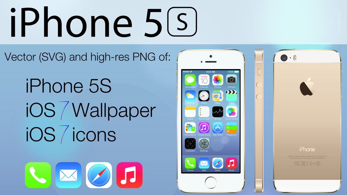 iPhone 5S and iOS 7 Vector Pack by TheGoldenBox on DeviantArt