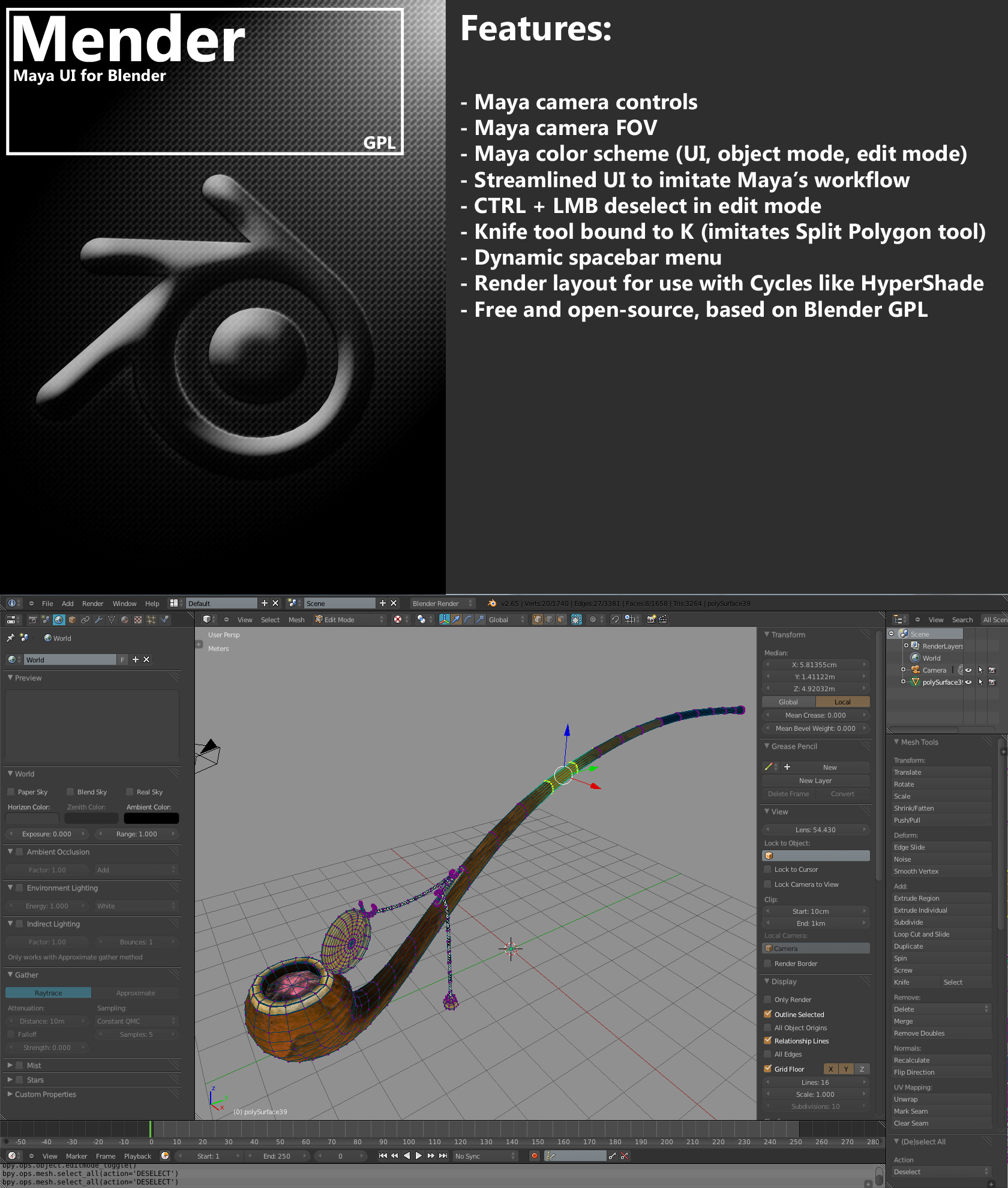 Mender- maya for blender =BLENDER 2.6 ONLY= by tidalkraken