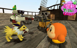 Wall.E and Waddle dee meet Captain Jolteon by CuteYoshiLover