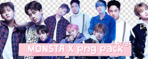 + MONSTA X 10 Star Magazine Group Png Pack