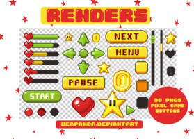 Renders 177 // Pixel game buttons pngs by BEAPANDA