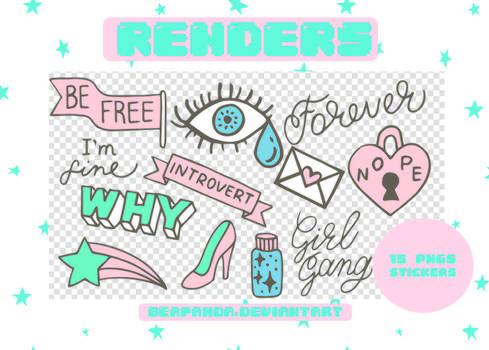 Renders 180 // Stickers Pngs