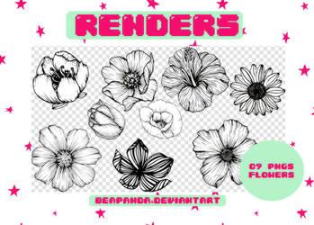 Renders 193 // Flowers Black and White Pngs by BEAPANDA